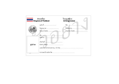 Sample documents for registering .in.th or  .ไทย - Case 2. Individual person - - A driving License